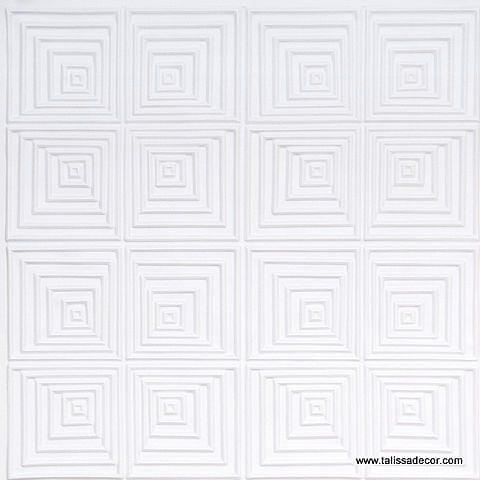 115 White Matte Faux Tin Ceiling Tile