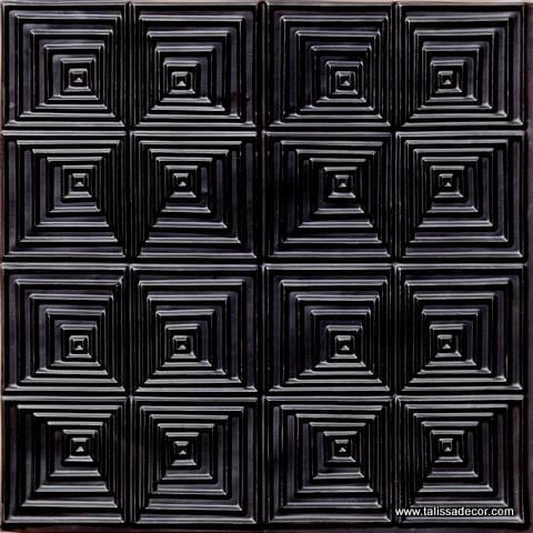115 Black Glossy Faux Tin Ceiling Tile