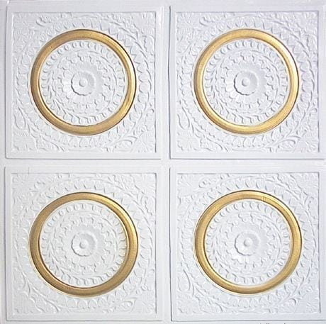 117 White Pearl -Gold Faux Tin Ceiling Tile