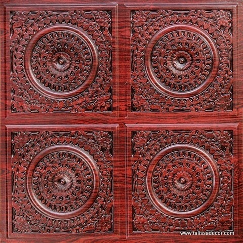 117 Antique Rosewood Faux Tin Ceiling Tile