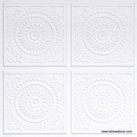 117 White Matte Faux Tin Ceiling Tile