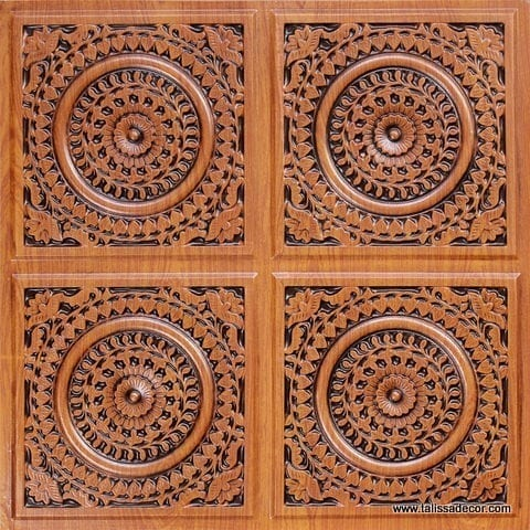117 Antique Teakwood Faux Tin Ceiling Tile