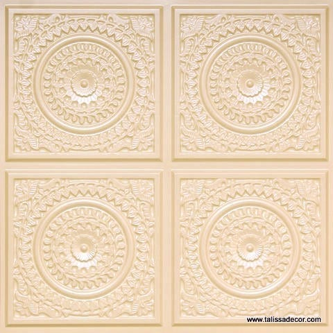 117 Cream Pearl Faux Tin Ceiling Tile