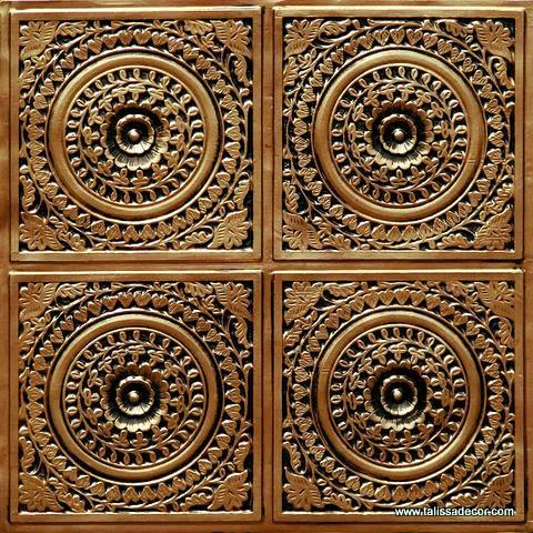 117 Antique Gold Faux Tin Ceiling Tile