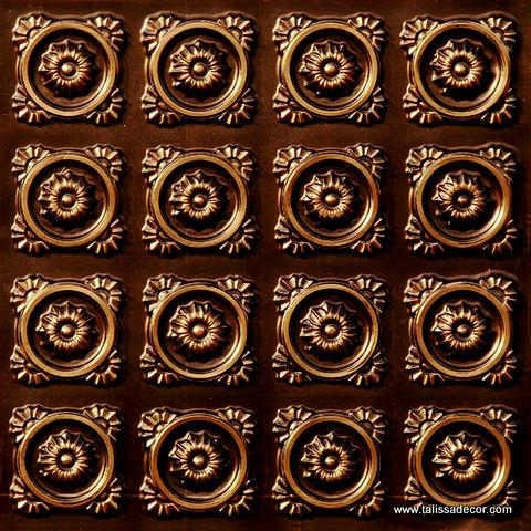 118 Faux Tin Ceiling Tile - Antique Gold