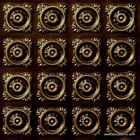 118 Faux Tin Ceiling Tile - Antique Brass