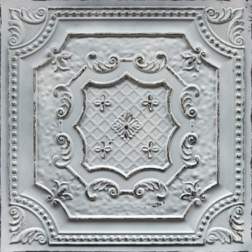 TD04 Old Black White Faux Tin Ceiling Tile
