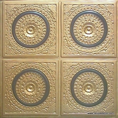 117 Gold-Black Faux Tin Ceiling Tile
