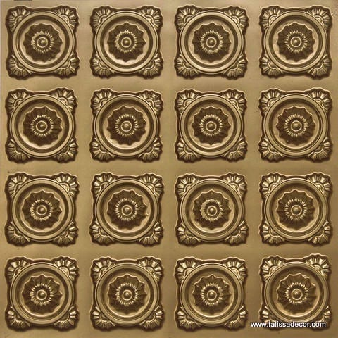 118 Faux Tin Ceiling Tile - Brass