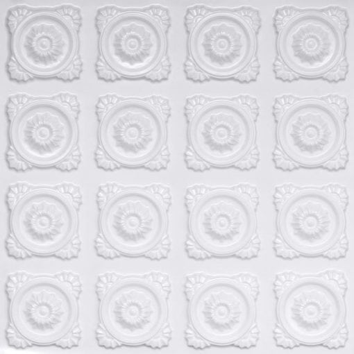 118 Faux Tin Ceiling Tile - White Pearl