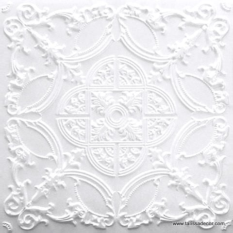 218 White Matte Faux Tin Ceiling Tile