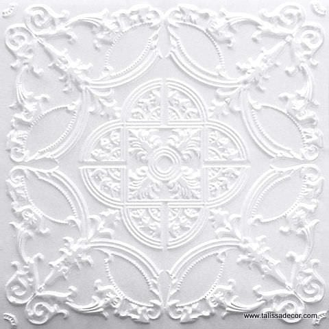 218 White Pearl Faux Tin Ceiling Tile