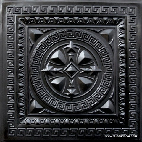 220 Black Glossy Faux Tin Ceiling Tile