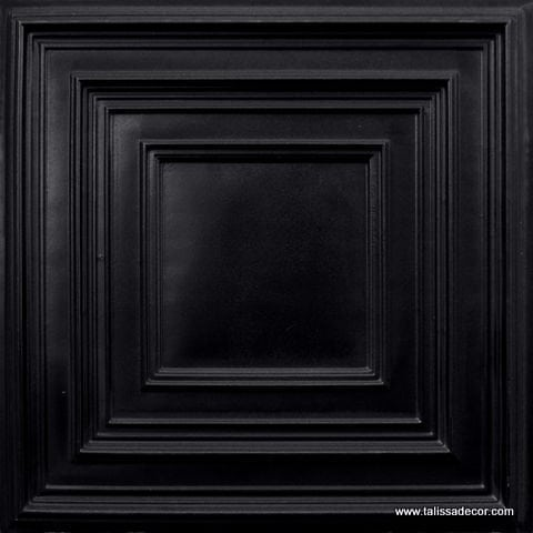222 Black Glossy Faux Tin Ceiling Tile