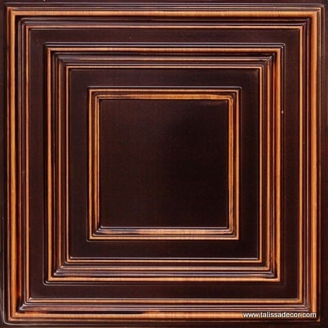 222 Antique Teakwood Faux Tin Ceiling Tile