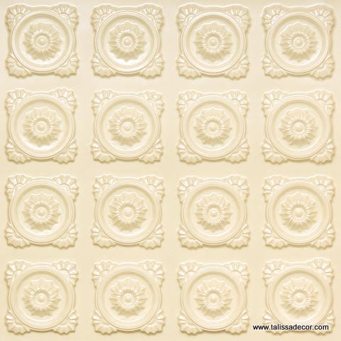 118 Faux Tin Ceiling Tile - Cream Pearl