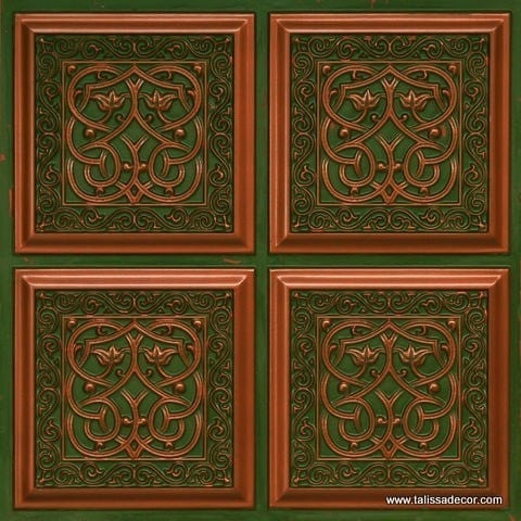 231 Patina Copper Faux Tin Ceiling Tile