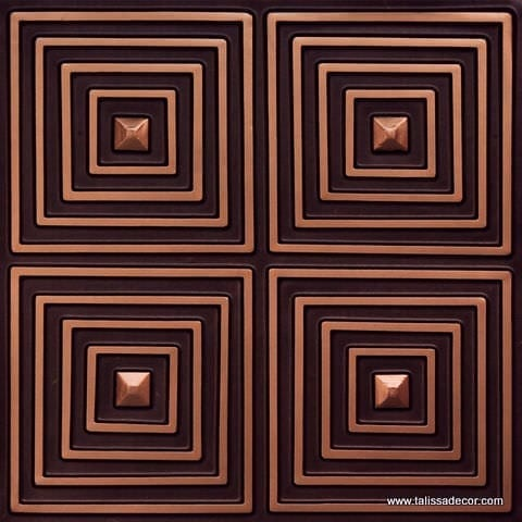 125 Antique Copper Faux Tin Ceiling Tile