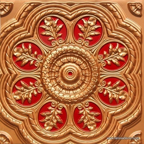 240 Gold-Red Faux Tin Ceiling Tile