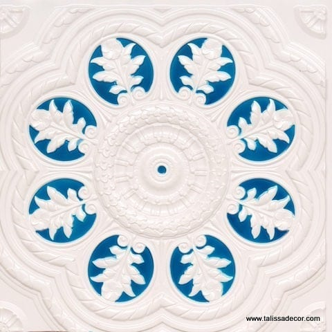 240 White Pearl-Blue Faux Tin Ceiling Tile