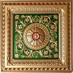 223 Gold- Royal Blue-Red Faux Tin Ceiling Tile