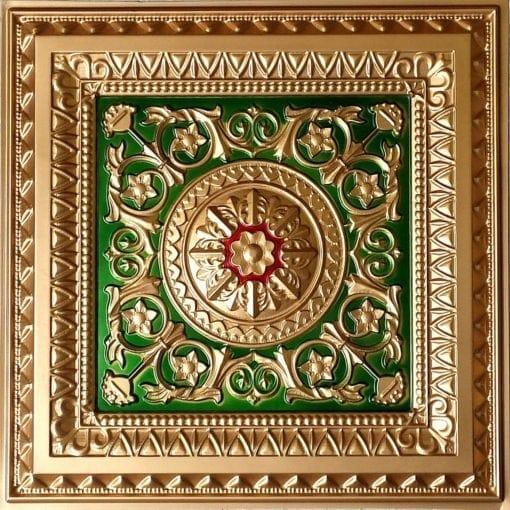 223 Gold-Green-Red Faux Tin Ceiling Tile