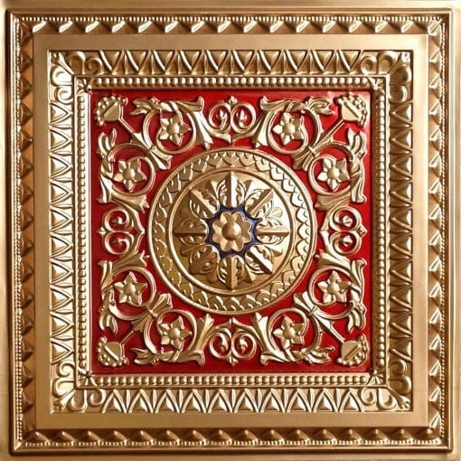 223 Gold-Red-Royal Blue Faux Tin Ceiling Tile