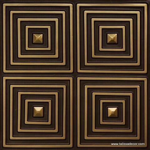 125 Antique Brass Faux Tin Ceiling Tile