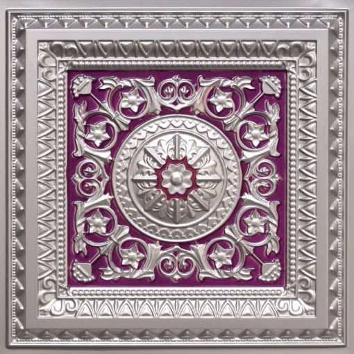 223 Silver-Purple Faux Tin Ceiling Tile