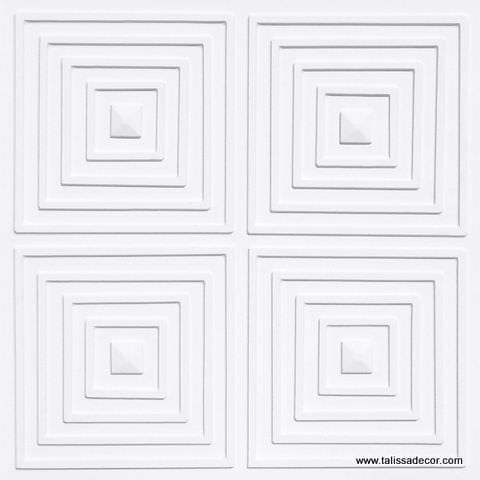 125 White Matte Faux Tin Ceiling Tile