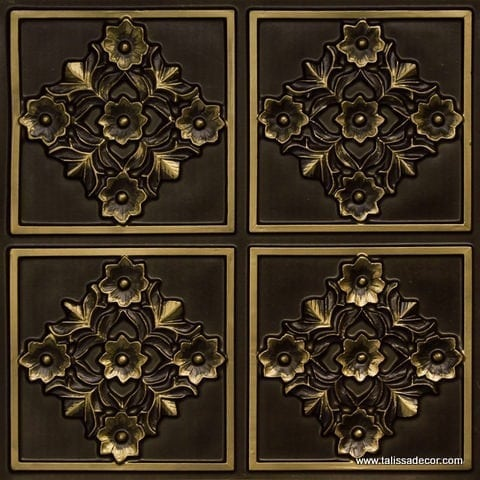 129 Antique Brass Faux Tin Ceiling Tile