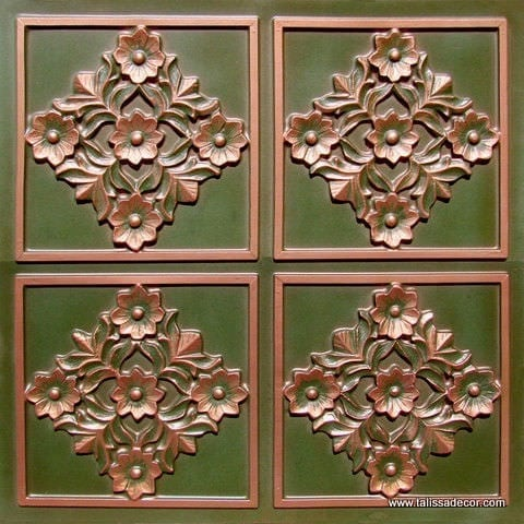 129 Patina Copper Faux Tin Ceiling Tile