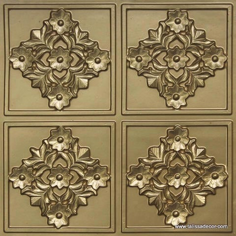 129 Brass Faux Tin Ceiling Tile