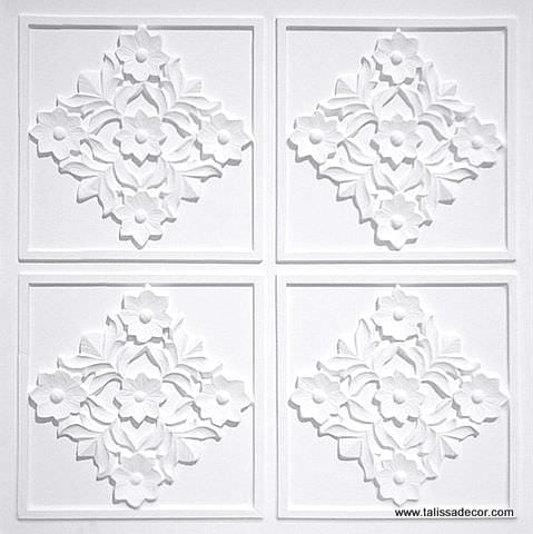 129 White Matte Faux Tin Ceiling Tile