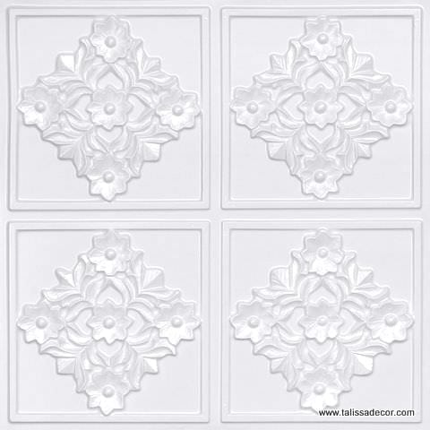 129 White Pearl Faux Tin Ceiling Tile
