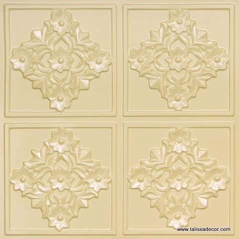 129 Cream Pearl Faux Tin Ceiling Tile