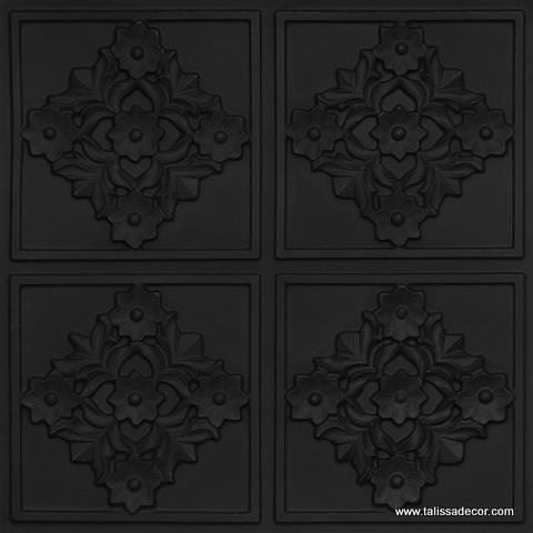 129 Black Matte  Faux Tin Ceiling Tile