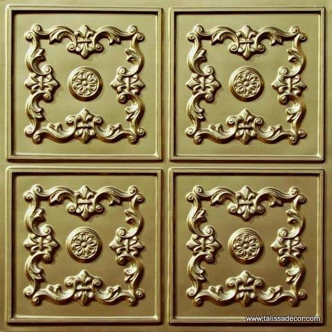 130 Brass Faux Tin Ceiling Tile