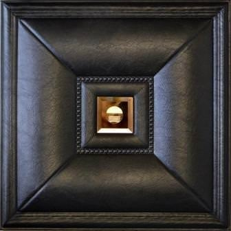 LT-11 Black Cognac Mirror Faux Leather Wall Panel