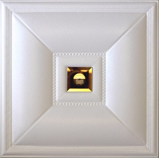 LT-11 White Cognac Mirror Faux Leather Wall Panel