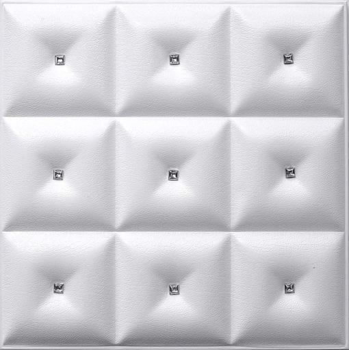 LT-19 White Diamond Faux Leather Wall Panel