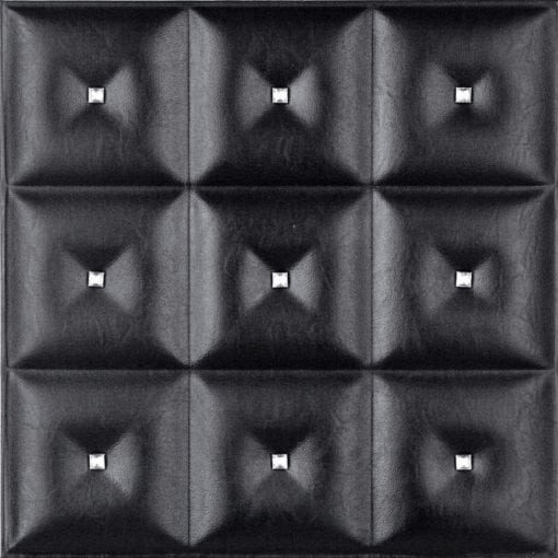LT-19 Black Diamond Faux Leather Wall Panel
