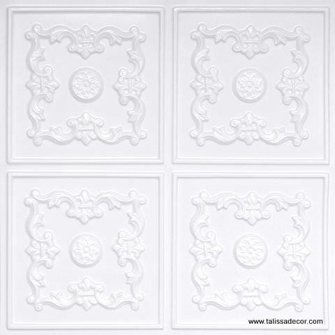 130 White Pearl Faux Tin Ceiling Tile
