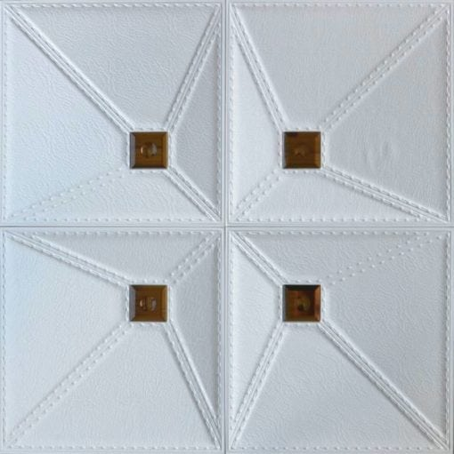 LT86 White Cognac Mirror Faux Leather Wall Panel