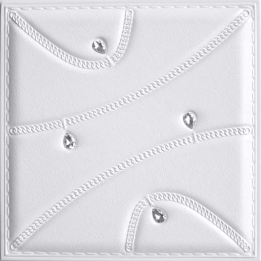 LT89 White Faux Leather Wall Panel