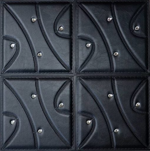 LT89 Black Faux Leather Wall Panel