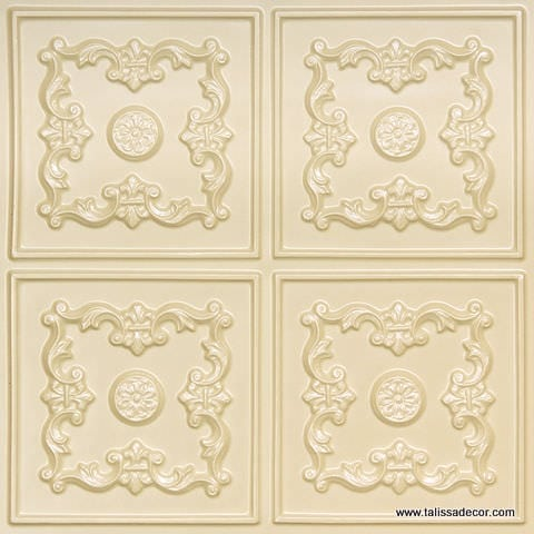 130 Cream Pearl Faux Tin Ceiling Tile