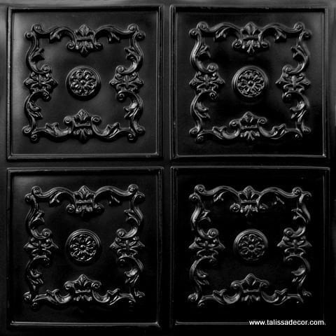 130 Black Glossy Faux Tin Ceiling Tile