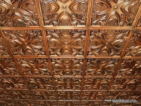 TD11 Aged Copper Faux Tin Ceiling Tile - Talissa Signature Collection