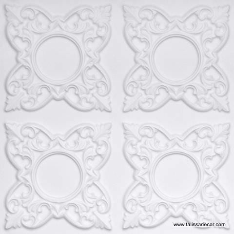 133 White Matte Faux Tin Ceiling Tile